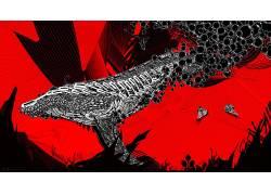 Desktopography,Photoshop中,数字,艺术品,鲸,动物,线条艺术,海蜇