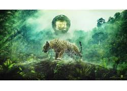 Desktopography,捷豹,Photoshop中,数字,动物,猫,丛林,植物,灯火,