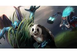 Dota 2,熊猫,熊,草,幻想艺术,动物,生物,决斗504480