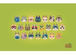 保护动物,动物踏过新叶,新叶子,动物,任天堂3DS,季节,猫,视频游戏
