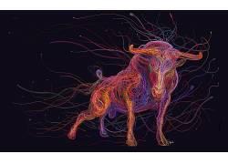 公牛,华美,数字艺术,动物,以太网络,USB,电线393507