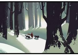 冬季,雪,树木,小红帽,狼,童话,森林,插图,艺术品,Mahea Rodrigues