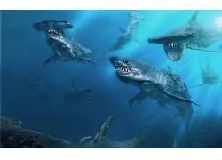 加勒比海盗:死人不告诉故事,鲨鱼,电影,动物,海,水下,艺术品,概