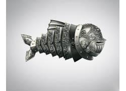 动物,数字艺术,鱼,极简主义,简单的背景,盔甲,装饰,钢540429