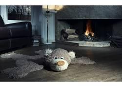 动物,泰迪熊,幽默,室内,房间,壁炉,教练,木表面503301