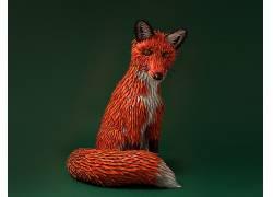 动物,狐狸,艺术品,爱马仕,绿色背景,3D,皮革478677