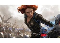 黑寡妇,复仇者联盟:奥创时代,惊奇的电影宇宙,艺术品,红发,妇女,