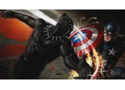 美国队长,黑豹,惊奇的电影宇宙,漫威漫画,艺术品,超级英雄,美国队