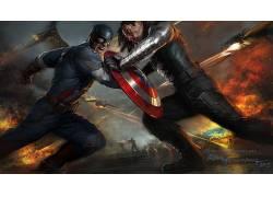 美国队长:冬日战士,美国队长,漫威漫画,电影,概念艺术,Bucky Bar