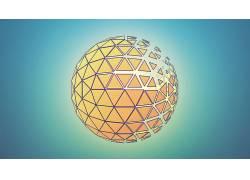 电影院4D,Photoshop中,领域,抽象,蓝色,橙子346783