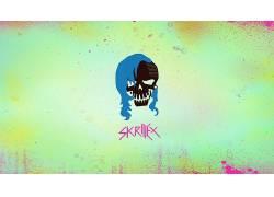 自杀队,绿色,头骨,粉,蓝色,的dubstep,电影422796