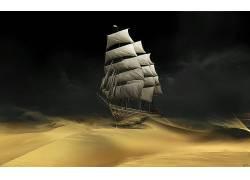 船,沙漠,砂,丁丁,帆船,电影,艺术品,幻想艺术22154