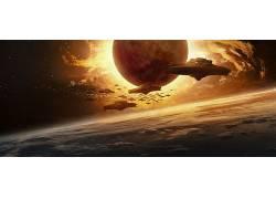 艺术品,世界末日,科幻小说,铁天空,电影,行星,空间,飞船419105