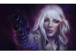 艺术品,妇女,枪,武器,有枪的女孩,原子金发(电影)602912