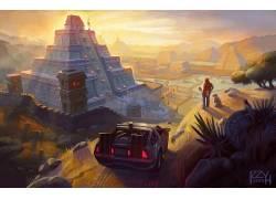 艺术品,幻想艺术,回到未来,德罗宁,金字塔,电影,玛雅,阿兹特克,玛
