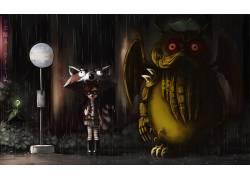 龙猫,粉丝艺术,邪神,吉卜力工作室,艺术品,数字艺术,雨,雨伞,库恩