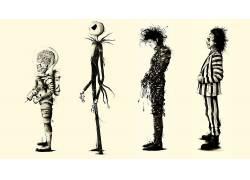 蒂姆伯顿,电影,甲虫汁,粉丝艺术,爱德华剪刀手,火星袭击,杰克Skel