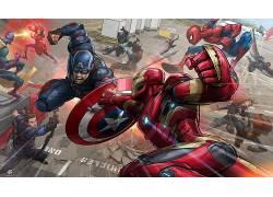 钢铁侠,美国队长,艺术品,复仇者,美国队长:内战,黑寡妇,鹰眼,克