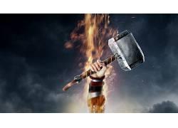 电影,雷神,锤子,雷神2:黑暗世界,雷神之锤,火,胳膊,惊奇的电影宇