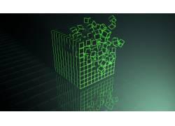 立方体,电影院4D,Photoshop中,绿色339962