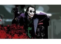 蝙蝠侠,黑暗骑士,希斯莱杰,电影,滑稽角色,活版印刷,油漆飞溅,Mes