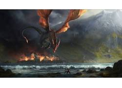 霍比特人,J. R. R. Tolkien,幻想艺术,龙,史矛革,指环王,数字艺术