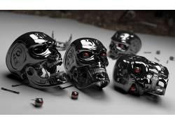 终结者,头骨,红眼睛,电影,内骨骼,半机械人,数字艺术5309