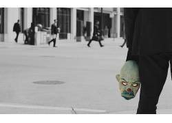 面具,滑稽角色,蝙蝠侠,黑暗骑士,选择性着色,景深,小丑,电影14974