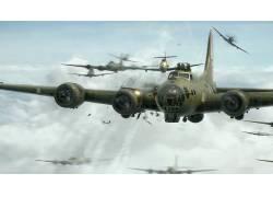 飞机,第二次世界大战,战争雷霆,波音B-17飞行堡垒,明星引擎,空战,