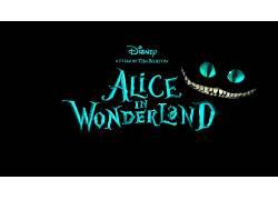 电影,爱丽丝漫游仙境,柴郡猫,黑色的背景51830