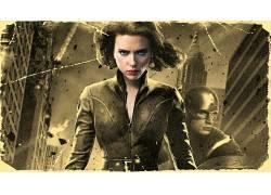 电影,复仇者,美国队长,黑寡妇,乌贼,选择性着色,过滤,斯嘉丽约翰