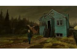 电影,库尔特柯本:赫克的蒙太奇,数字艺术,艺术品,男人,屋,树木,