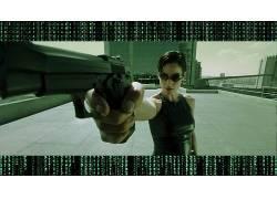 电影,矩阵,Carrie-Anne Moss,枪,三位一体(电影),有枪的女孩536