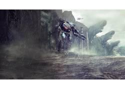 环太平洋,机器人,雨,电影,科幻小说13627