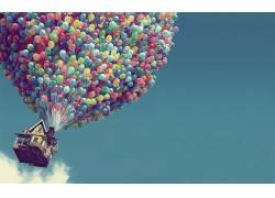 气球,Up(电影),屋,天空,电影,动画电影,迪士尼,皮克斯动画工作