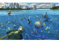 海底总动员,鱼,龟,海,拆分视图,悉尼歌剧院,迪士尼,皮克斯动画工