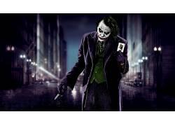 滑稽角色,蝙蝠侠,黑暗骑士,希斯莱杰,电影,刀,市,模糊,牌,Messenj