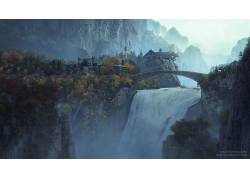 瀑布,电影,指环王,瑞文戴尔29160