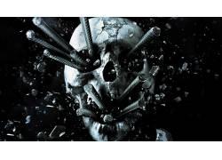 数字艺术,黑暗,金属,头骨,破碎,弹片,黑色的背景,电影,最终目的地