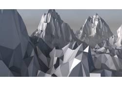 数字艺术,山,电影院4D,低聚,艺术品836