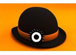 数字艺术,简单的背景,极简主义,黄色背景,发条橙,电影,帽子,齿轮,