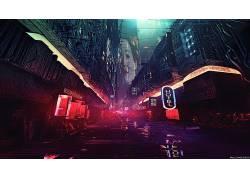 晚,艺术品,未来城市,庞克,网络,科幻小说,数字艺术,概念艺术,银翼
