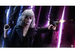 妇女,艺术品,有阴影的妇女,枪,武器,有枪的女孩,原子金发(电影)