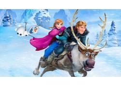 安娜公主,克里斯托夫,迪士尼,公主,奥拉夫,快乐,爱,冷冻(电影)1