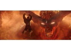 托尔:拉格纳罗克,废船,跳跃,Surtur,火,恶魔,尖叫,雷神,惊奇的电