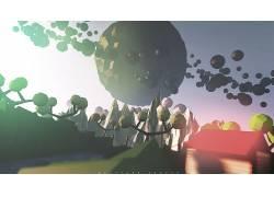 低聚,3D,行星,天空,幻想艺术,树木,山,屋,河,桥,数字艺术,抽象,电