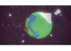 低聚,几何,3D,电影院4D,行星,明星,空间,生活