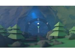 低聚,树木,山,塌陷,洞穴,剑,灯火,3d对象,领域,石头,景深,数字艺