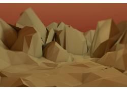 低聚,电影院4D,火星,抽象,沙漠183529