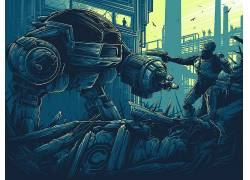 Dan Mumford,电影,机械战警,艺术品,ED-209,未来,半机械人,机器人